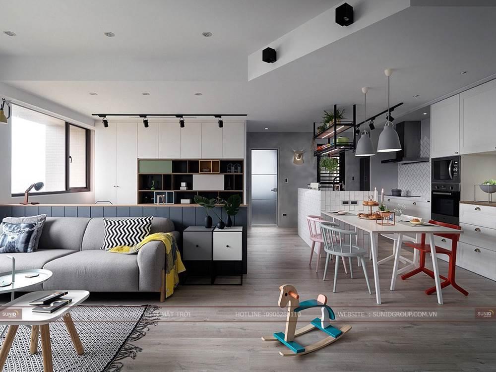 Thiết kế nội thất căn hộ kiểu Scandinavia nổi bật với Comfort