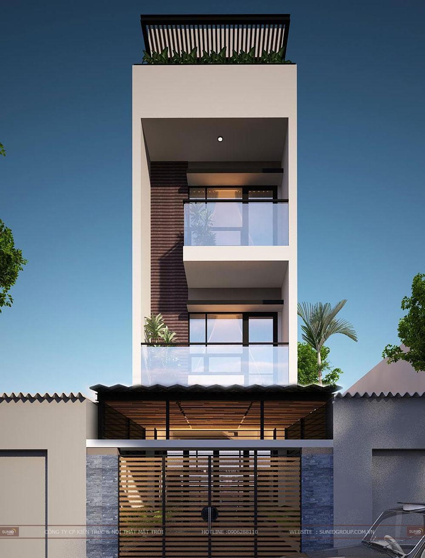 Thiết kế nhà phố 4 tầng mặt tiền 5m tại Đông Anh