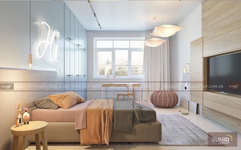 Thiết kế nội thất phòng ngủ một giường đẹp, đơn giản