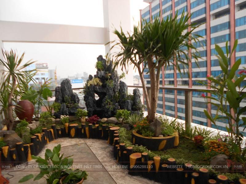 Thiết kế tiểu cảnh sân vườn không gian xanh trên sân thượng và tòa nhà cao tầng