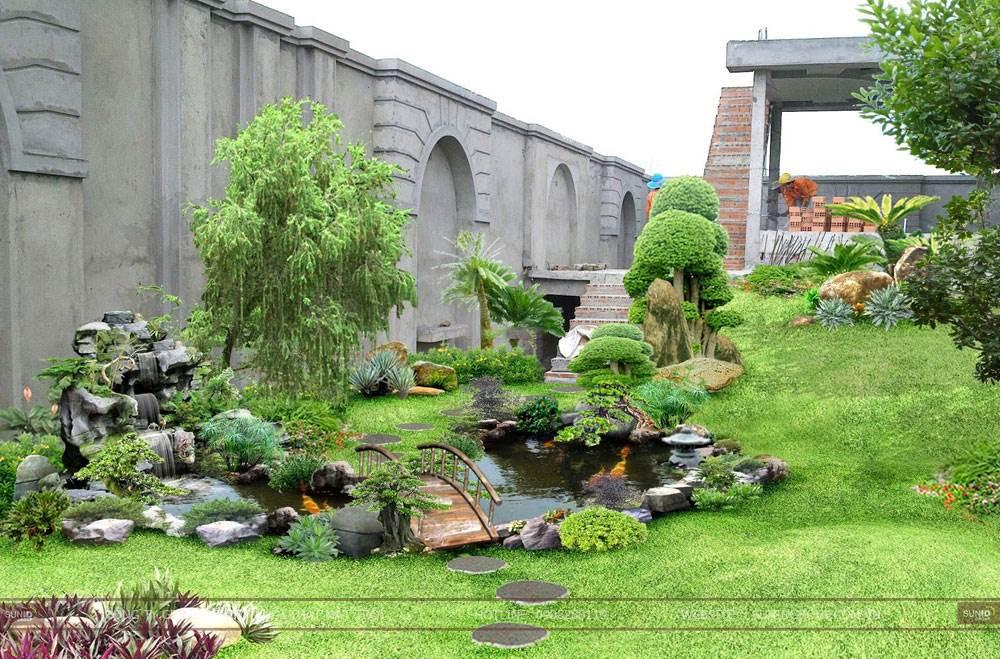 Thiết kế sân vườn tiểu cảnh hợp phong thủy