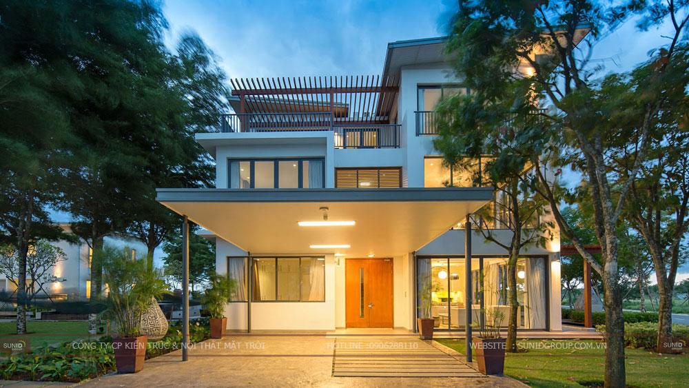 Thiết kế kiến trúc biệt thự 3 tầng mái thái