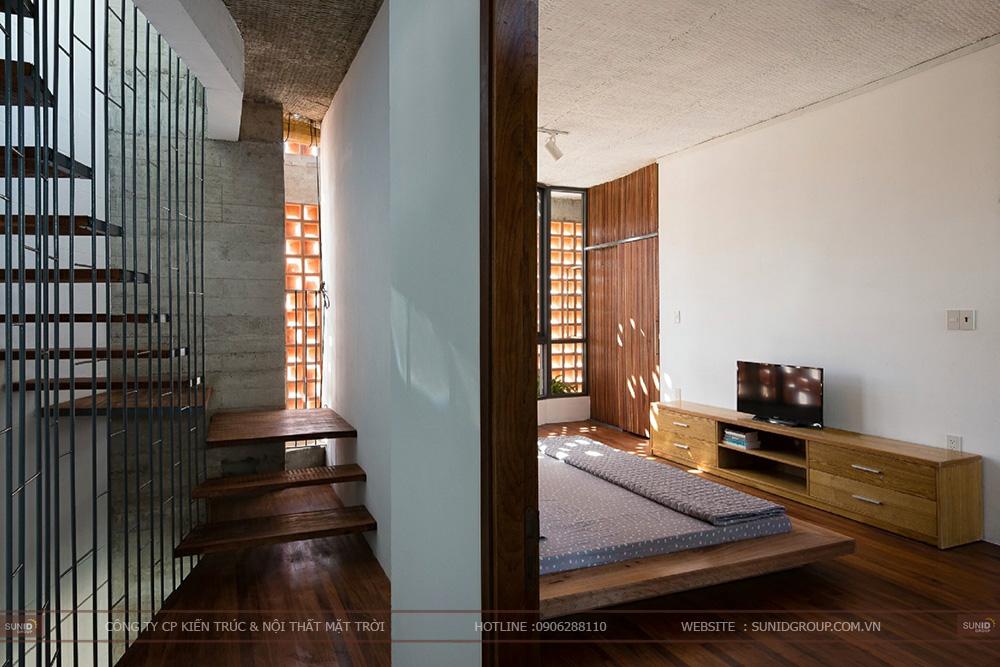 Thiết kế kiến trúc nhà với gạch hoa thông gió.