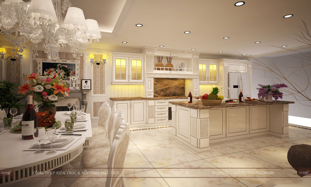 Mẫu thiết kế nội thất phòng bếp tân cổ điển đẹp