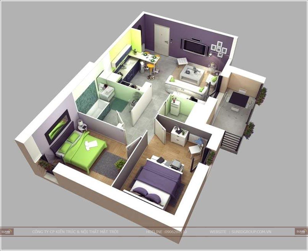 10 mẫu căn hộ 60m2 thiết kế nội thất chung cư 2 phòng ngủ tuyệt đẹp
