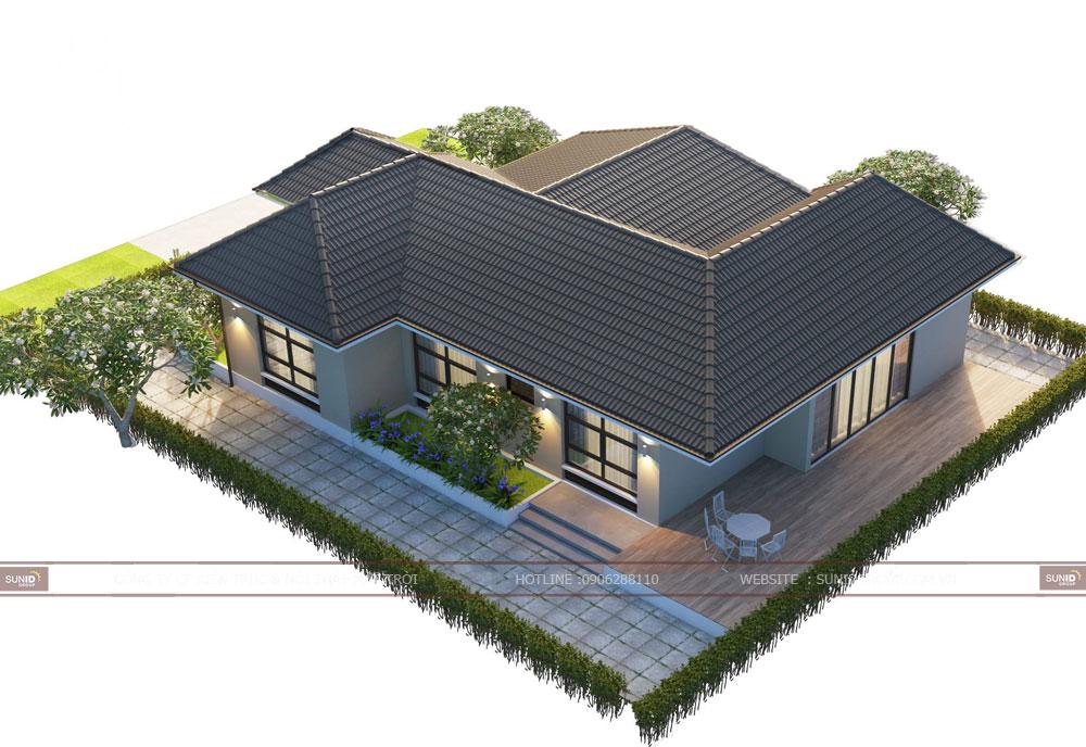 Thiết kế thi công biệt thự sân vườn 1 tầng
