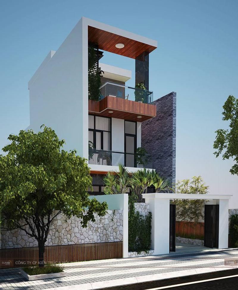 Thiết kế kiến trúc nhà ống 3 tầng