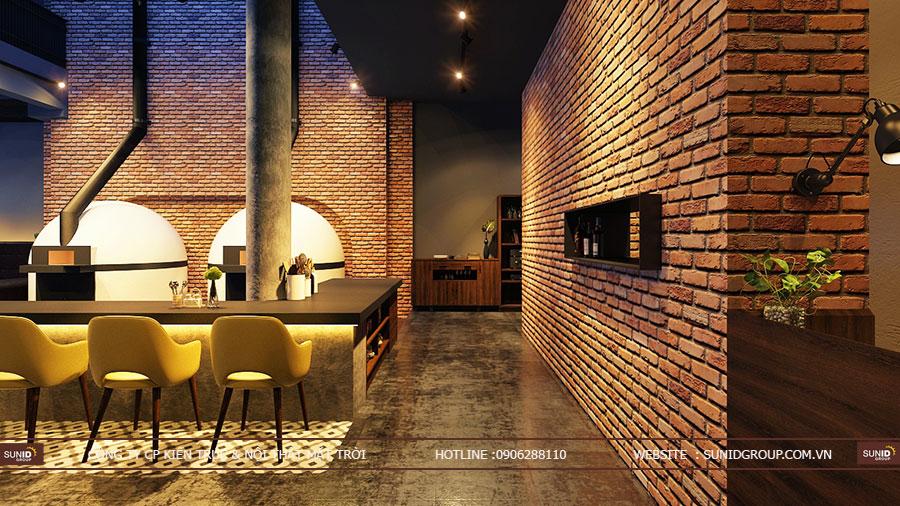 Thiết kế nội thất cửa hàng pizza