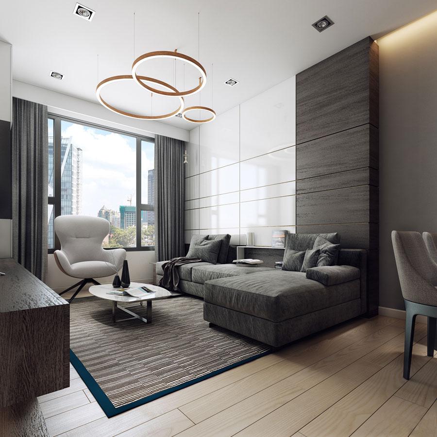 thiết kế nội thất chung cư 50 mét vuông 2 phòng ngủ ảnh 1