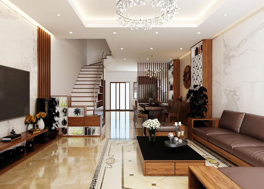 hoàn thiện nội thất nhà phố 2 tầng bằng gỗ ảnh 1