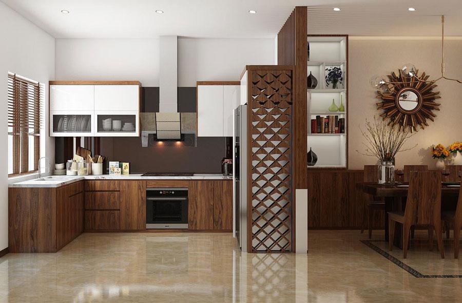 Hoàn thiện nội thất nhà phố 2 tầng dùng vật liệu gỗ