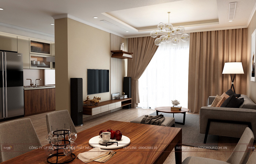Thiết kế nội thất chung cư 70m2 đẹp tại Hà Nội