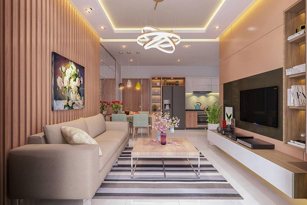 Thiết kế nội thất chung cư 86m2 hai phòng ngủ