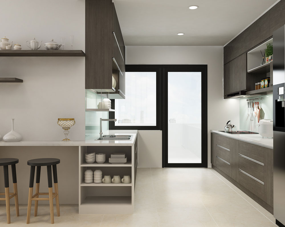thiết kế nội thất chung cư tone màu trắng ảnh 4