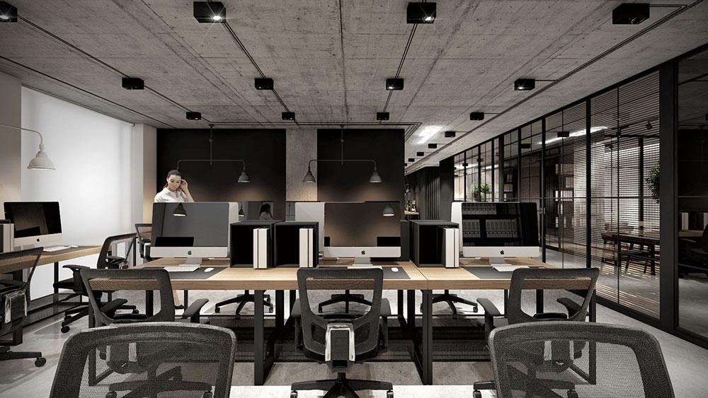Thiết kế nội thất văn phòng 200m2 hiện đại tiện nghi