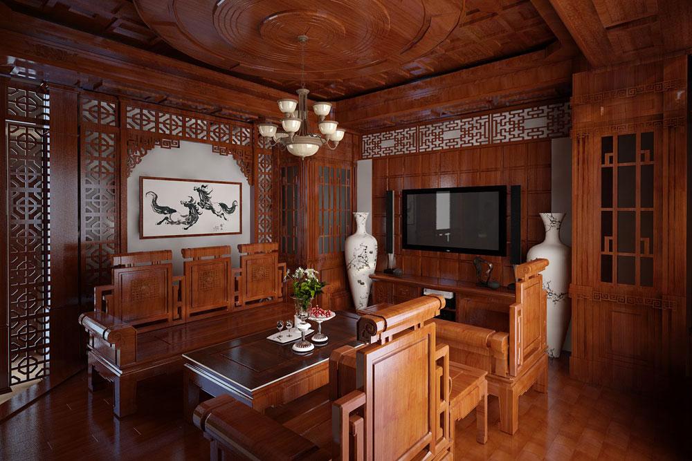 phòng khách cổ điển gỗ