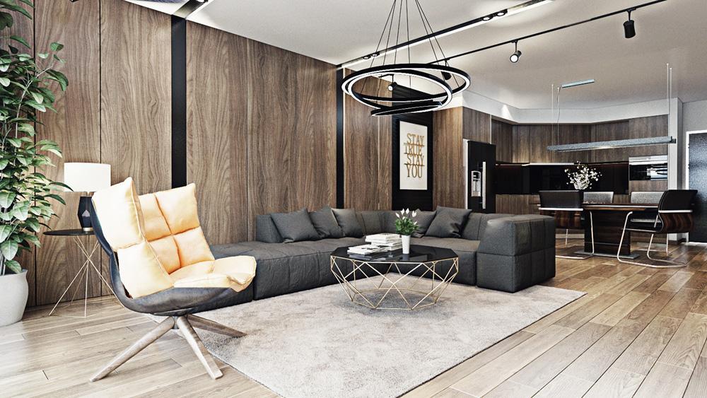 thiết kế nội thất phòng khách chung cư 67m2