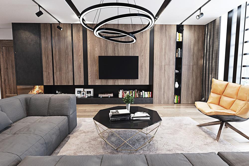 thiết kế nội thất phòng khách chung cư 67m2  đẹp