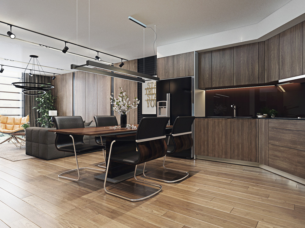 thiết kế nội thất bàn ăn và bếp chung cư 67m2  đẹp