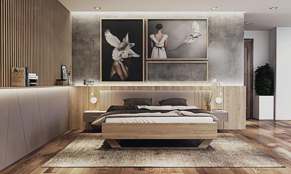 thiết kế nội thất phòng ngủ chung cư 67m2  đẹp