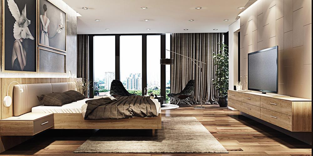 thiết kế nội thất phòng ngủ chung cư 67m2