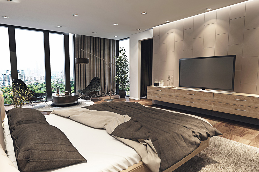 thiết kế nội thất phòng ngủ chung cư 67m2  tiện nghi
