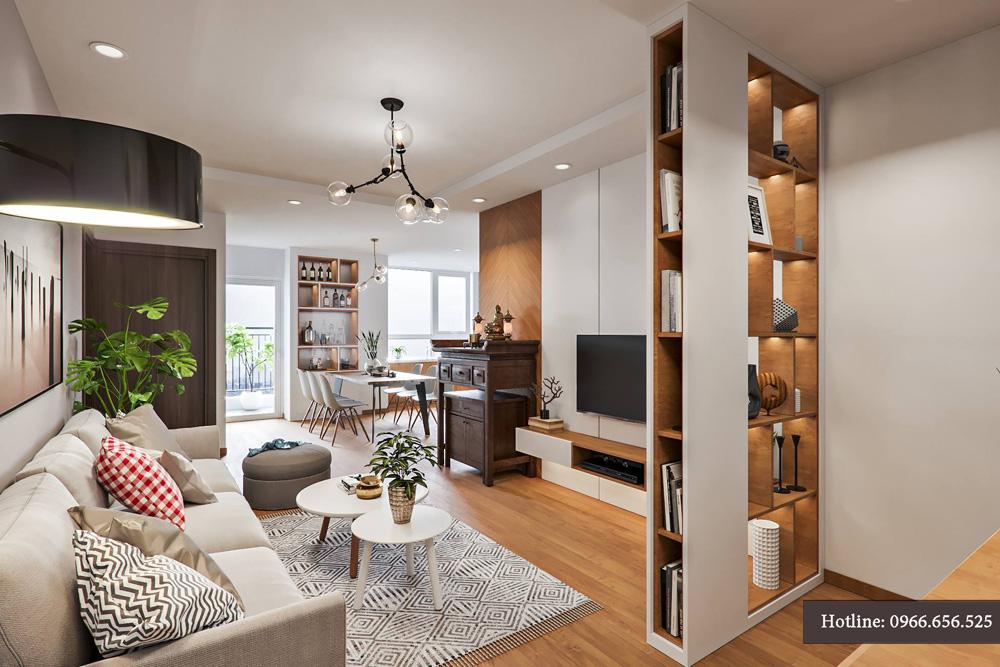 Mẫu thiết kế nội thất chung cư 95m2 3 phòng ngủ