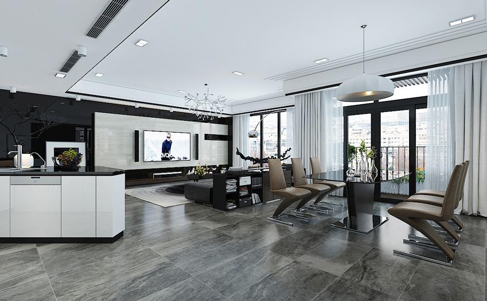 Thiết kế nội thất chung cư cao cấp 100m2 đẹp ngất ngây