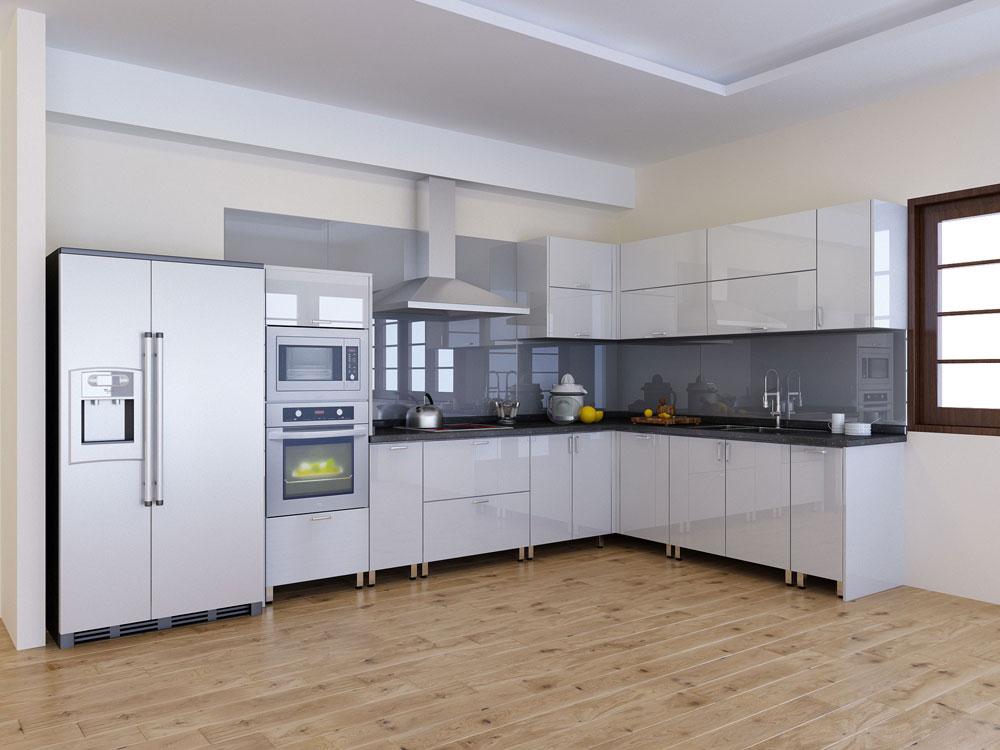 tủ bếp gỗ công nghiệp trắng