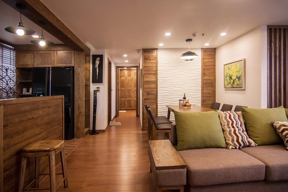 thi công nội thất chung cư bằng gỗ sồi ảnh 2