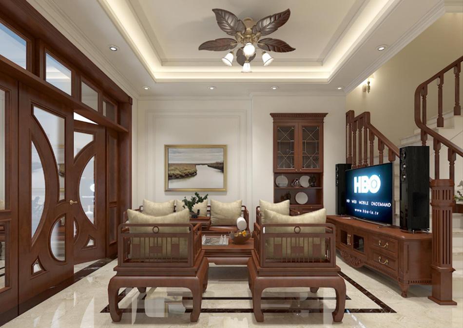 Thiết kế nhà phố 3 tầng nội thất gỗ sang trọng ảnh 1