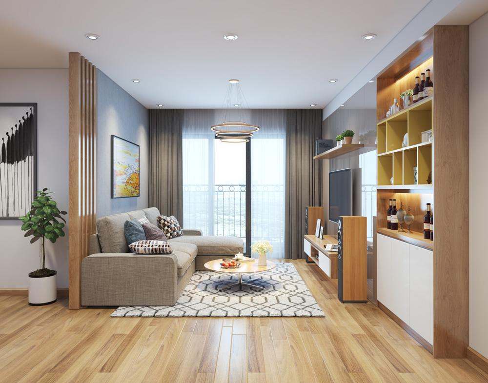 thi công nội thất chung cư bằng gỗ công nghiệp 1