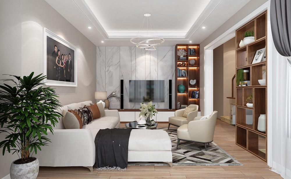 thiết kế nội thất nhà phố 4 tầng phòng khách