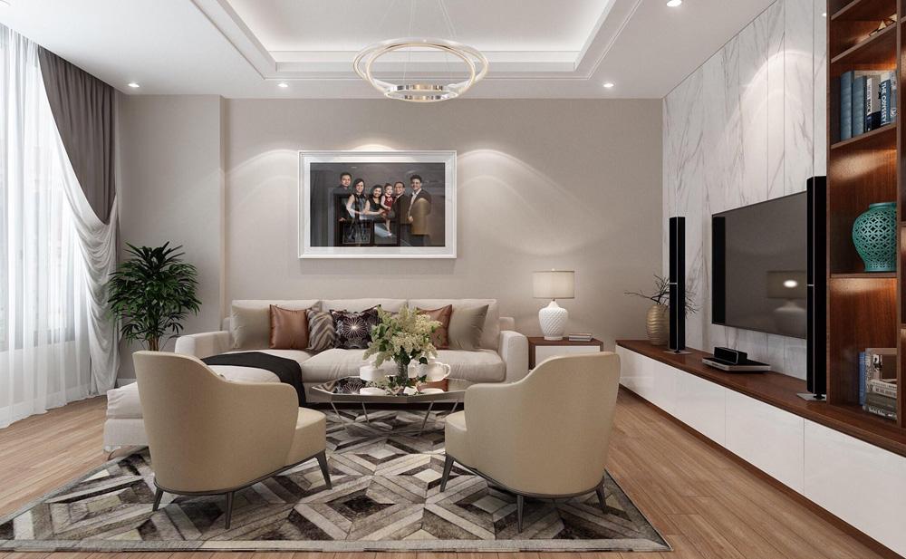 thiết kế nội thất nhà phố 4 tầng phòng khách 2