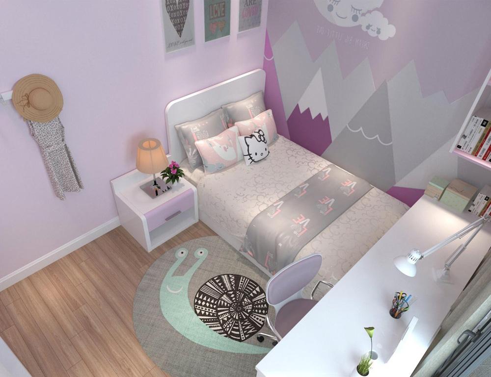 thiết kế nội thất nhà phố 4 tầng phòng ngủ con gái