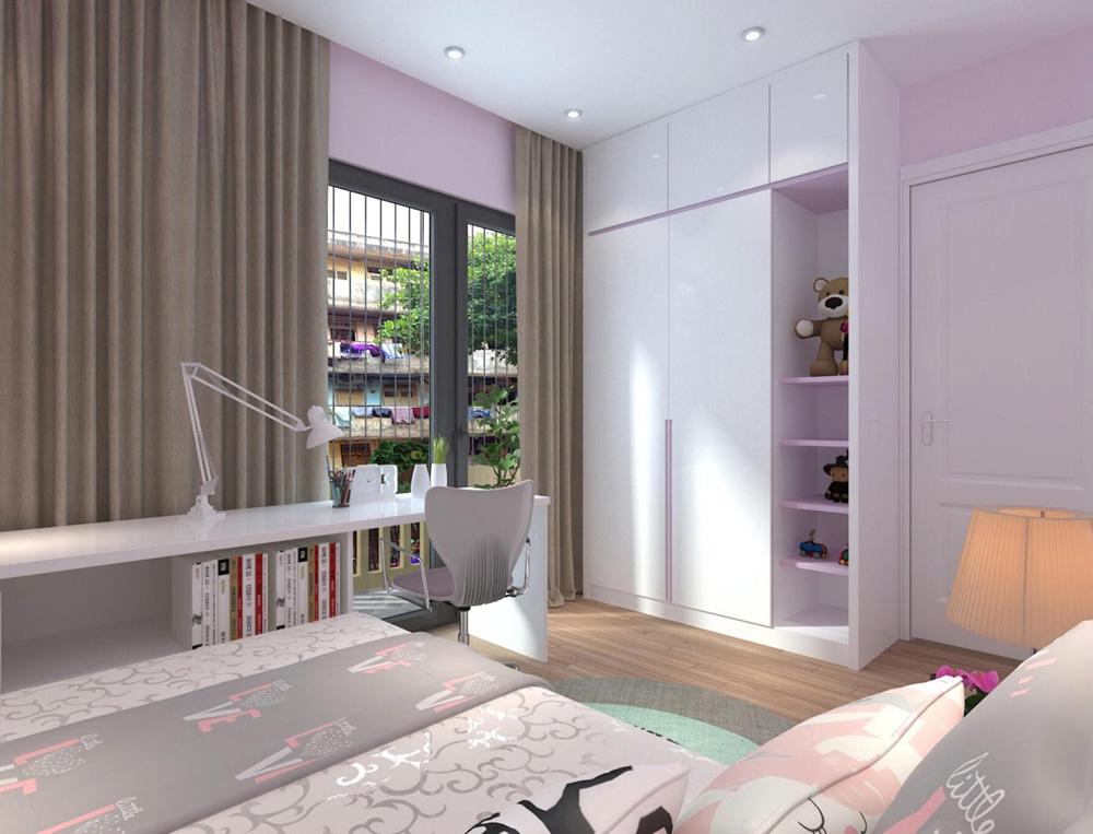 thiết kế nội thất nhà phố 4 tầng phòng ngủ con gái1