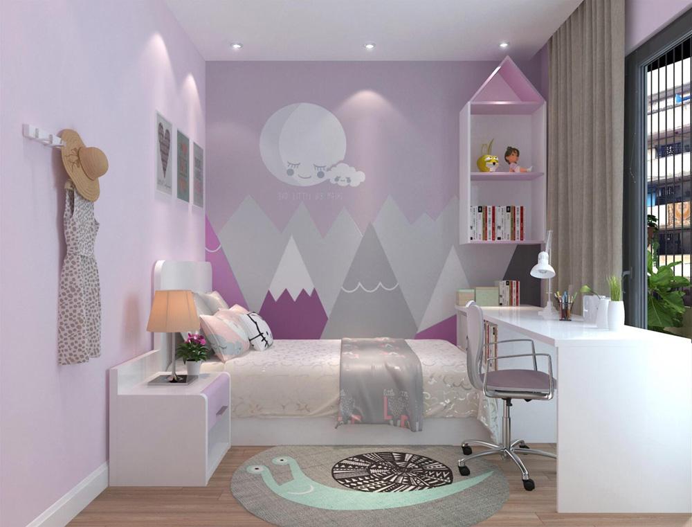 thiết kế nội thất nhà phố 4 tầng phòng ngủ con gái2