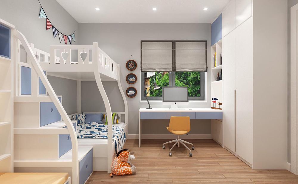 thiết kế nội thất nhà phố 4 tầng phòng ngủ con trai1
