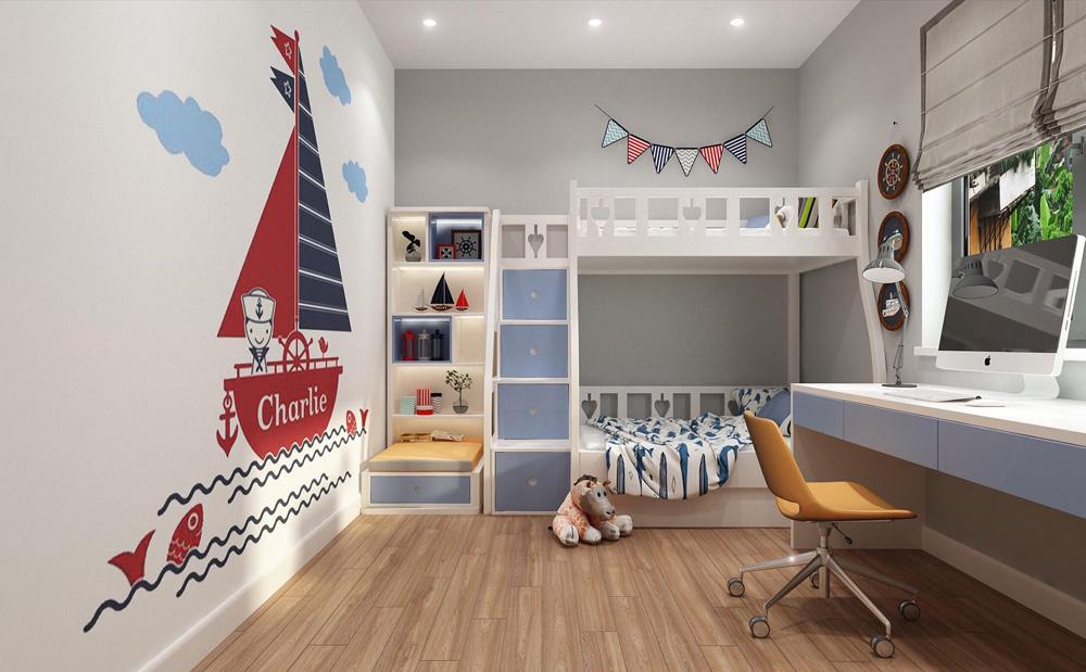 thiết kế nội thất nhà phố 4 tầng phòng ngủ con trai2
