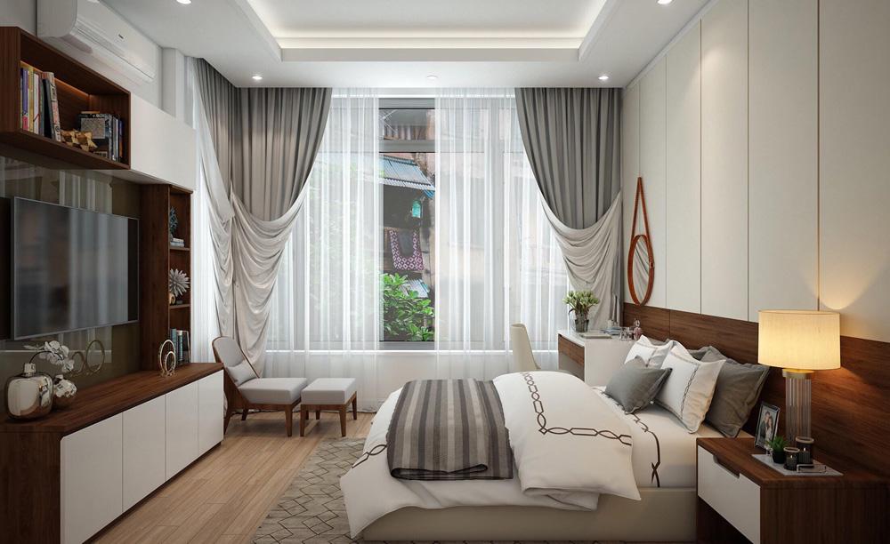 thiết kế nội thất nhà phố 4 tầng phòng ngủ master