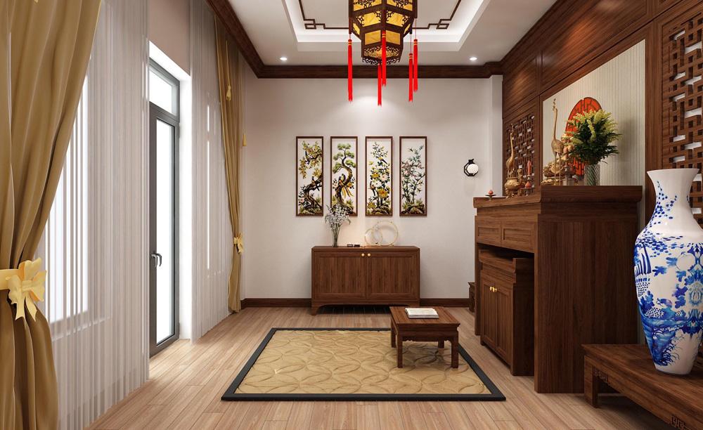thiết kế nội thất nhà phố 4 tầng phòng thờ1