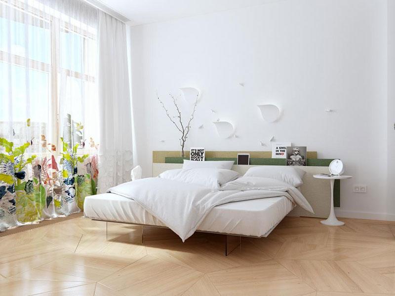 trang trí phòng ngủ màu sơn tường panel