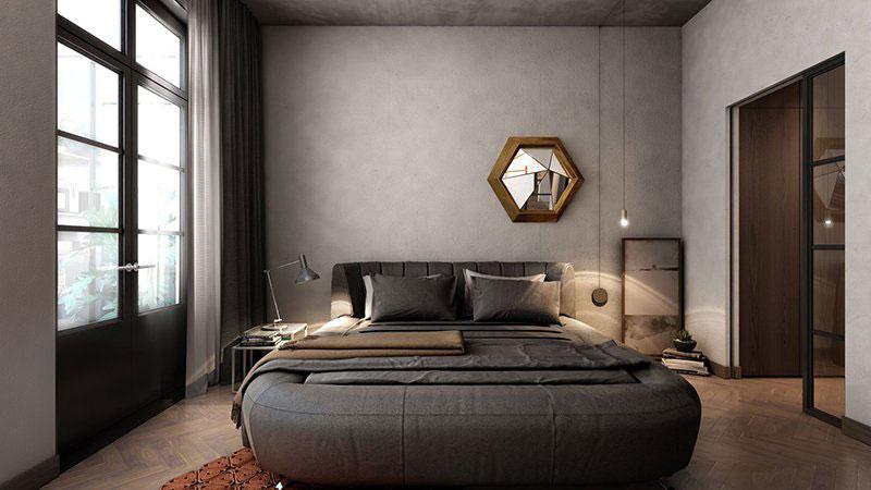 trang trí phòng ngủ bằng tường bê tông