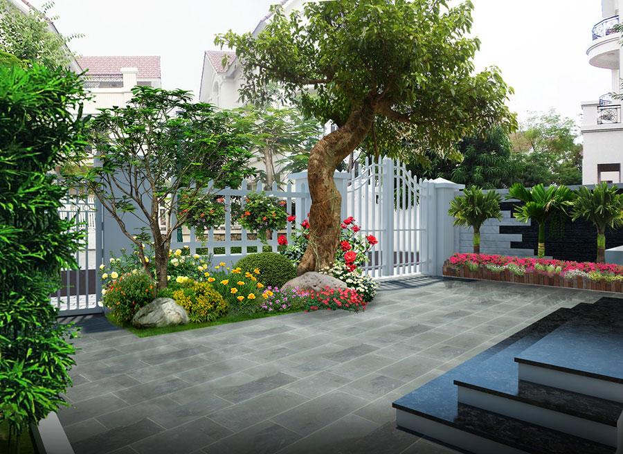 sân vườn ở góc sân