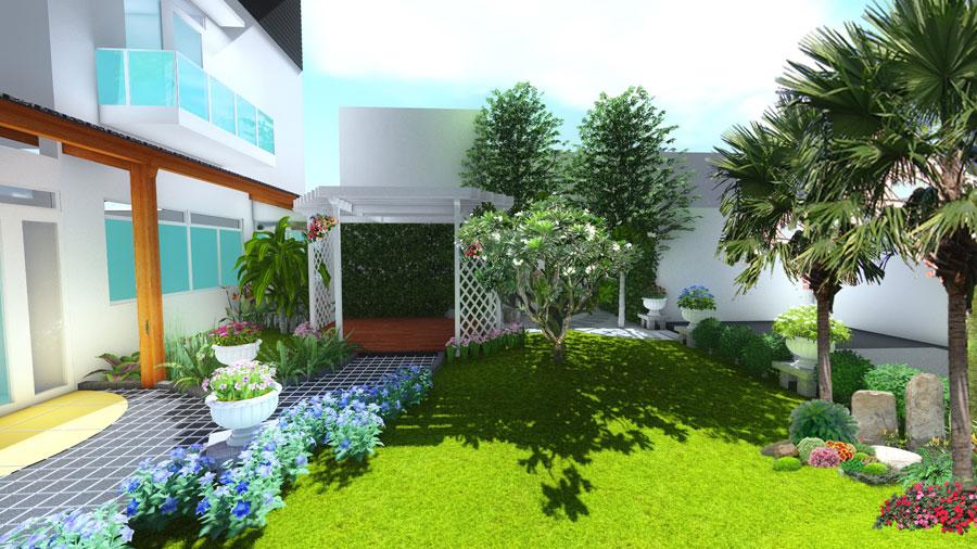 thiết kế sân vườn trước hiên nhà