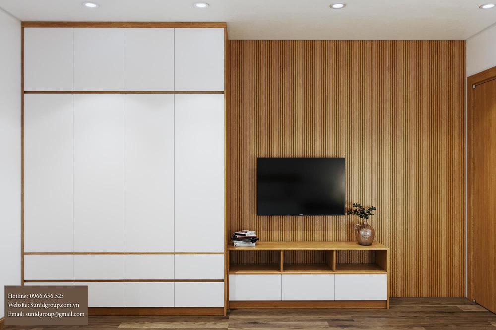 thiết kế nội thất chung cư gam màu vàng kem 10