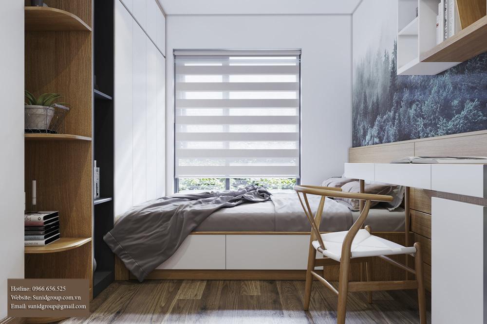 thiết kế nội thất chung cư gam màu vàng kem 11
