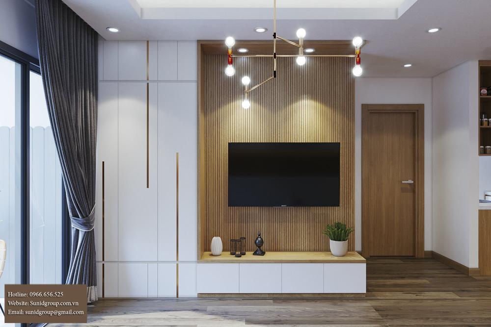 thiết kế nội thất chung cư gam màu vàng kem 2