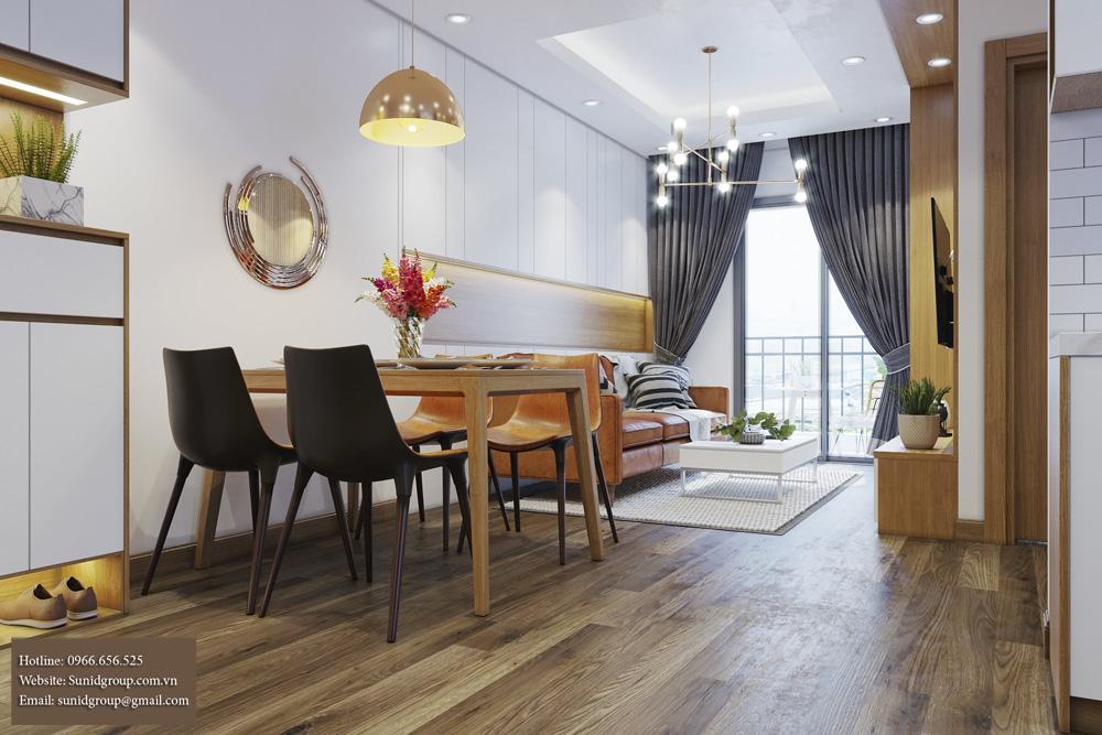 thiết kế nội thất chung cư gam màu vàng kem 3