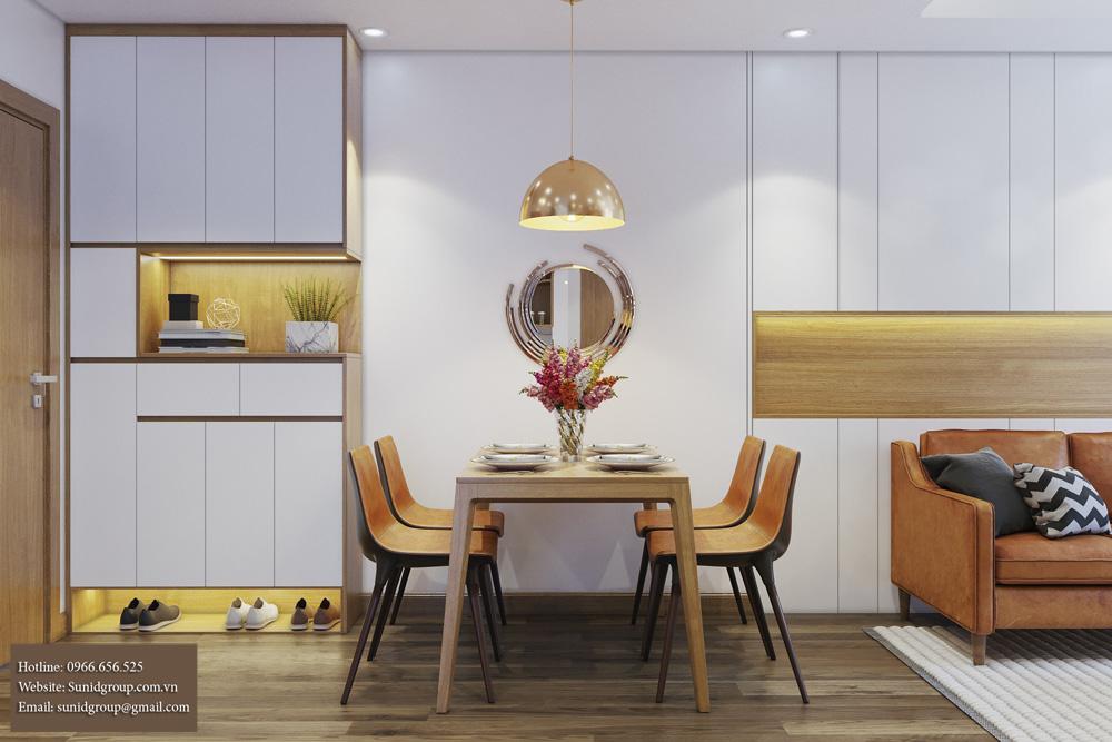 thiết kế nội thất chung cư gam màu vàng kem 4